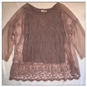 NEW Delicate Dusty Rose Tunic w Adjustable Sleeves